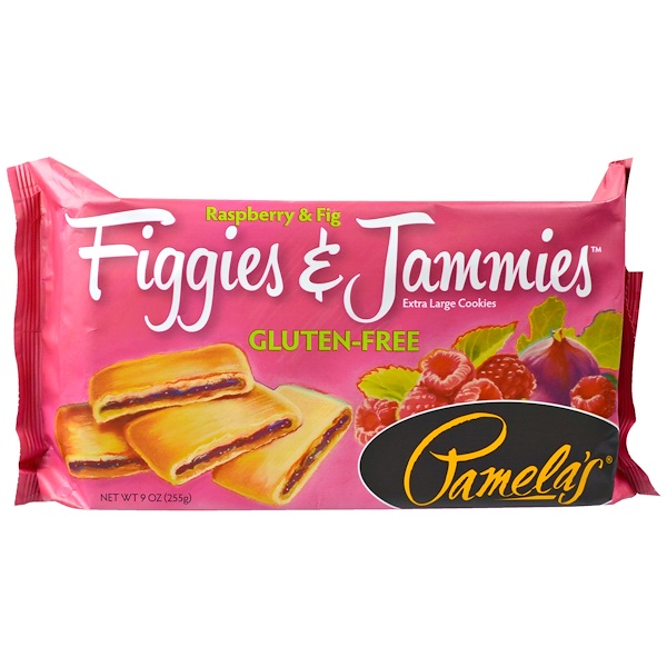 Pamela's Products, Figgies & Jammies, Extra Large Cookies, Raspberry & Fig, 9 oz (255 g) (Discontinued Item)