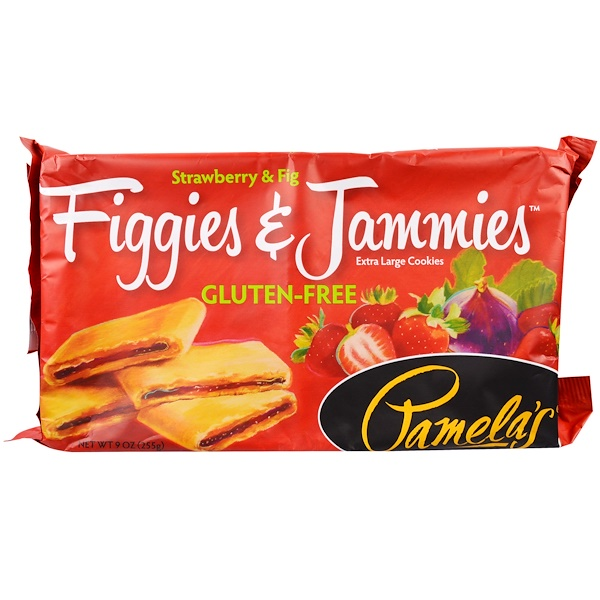 Pamela's Products, Gluten-Free Figgies & Jammies, Extra Large Cookies, Strawberry & Fig, 9 oz (255 g) (Discontinued Item)