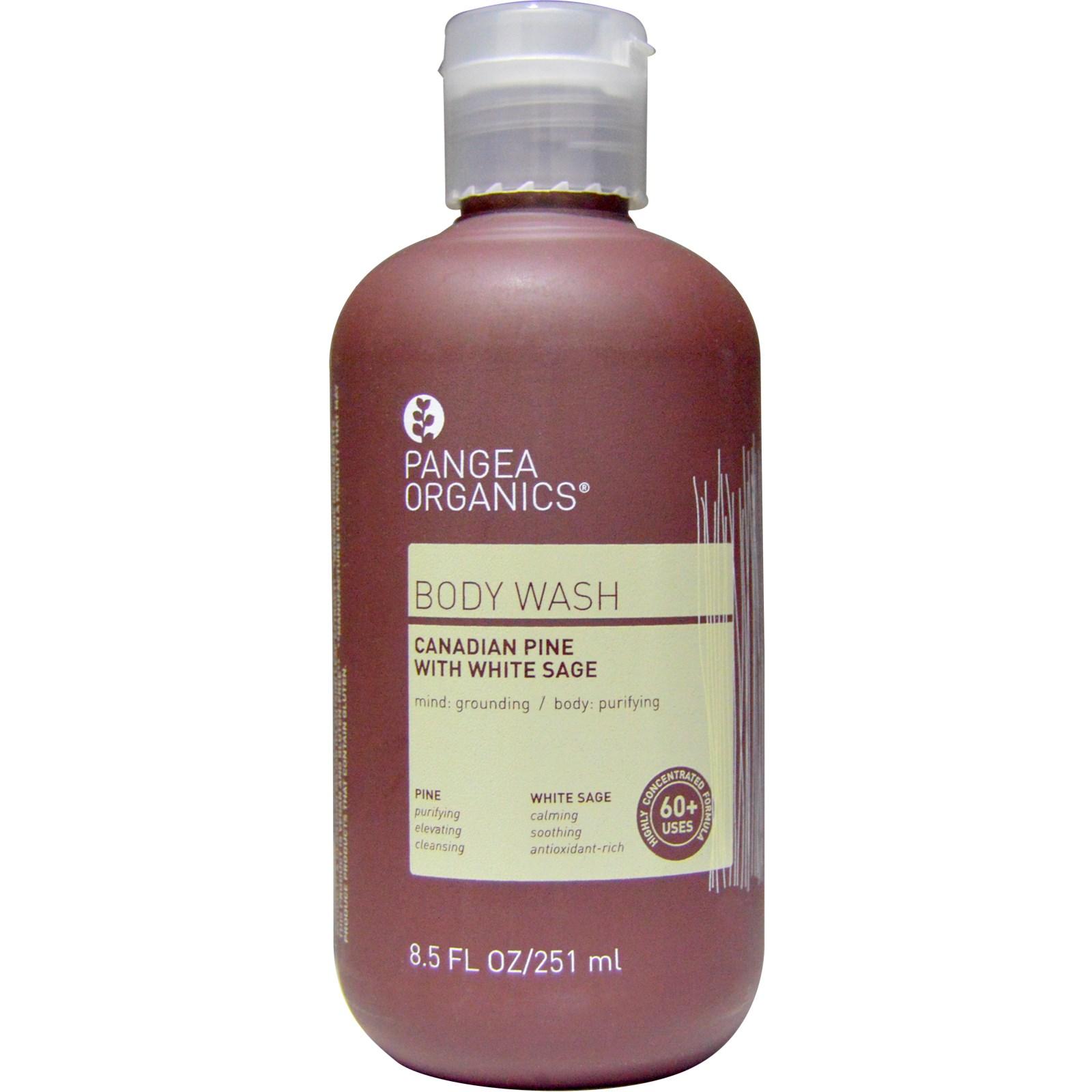 Pangea Organics, Средство для мытья тела, канадская сосна с белым шалфеем, 8,5 унции (215 г)