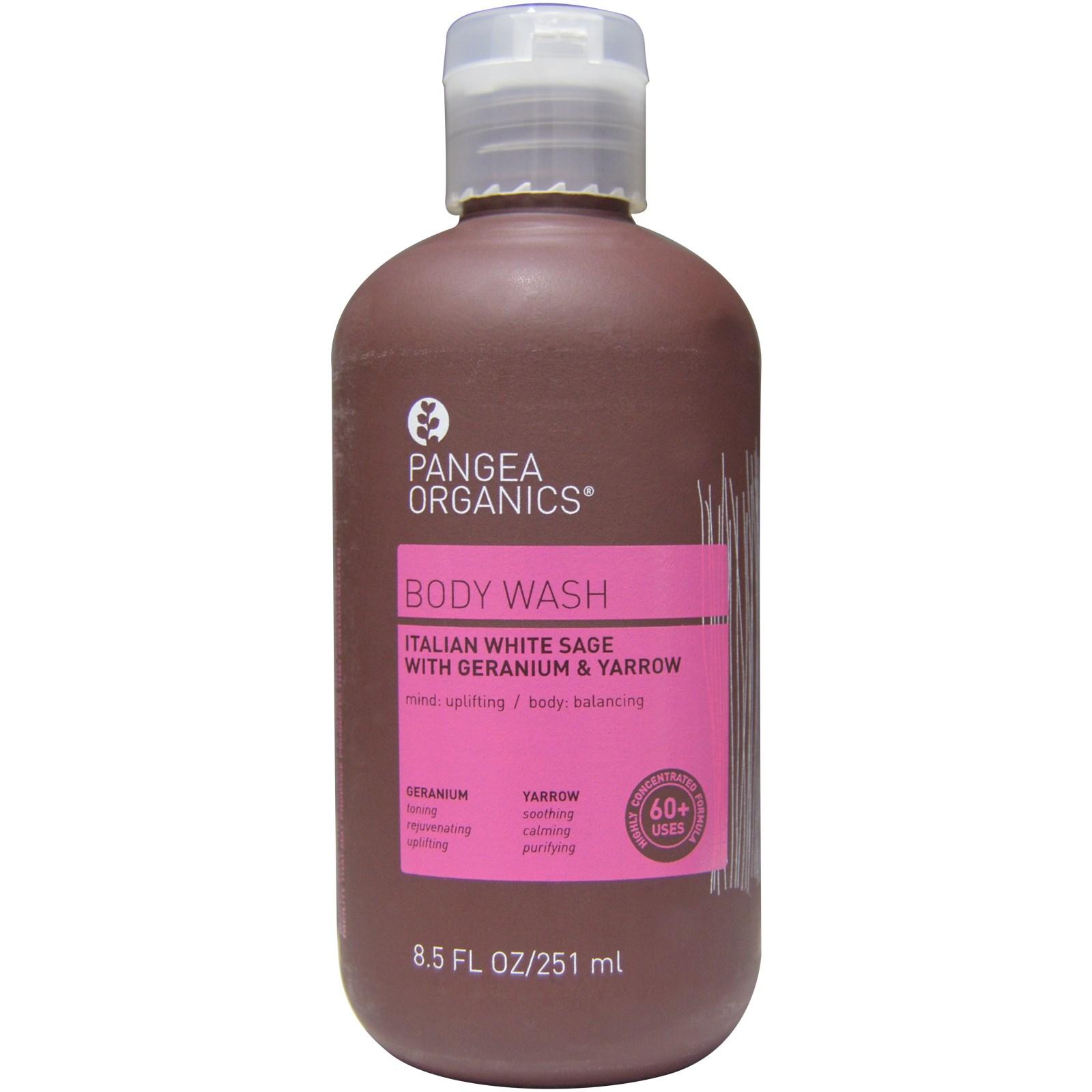 Pangea Organics, Shower Gel, Italian White Sage with Geranium & Yarrow, 8.5 fl oz (250 ml)