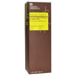 Pangea Organics, フェイシャルトナー、イタリアングリーンマンダリン & スイートライム、4 fl oz (118 ml)