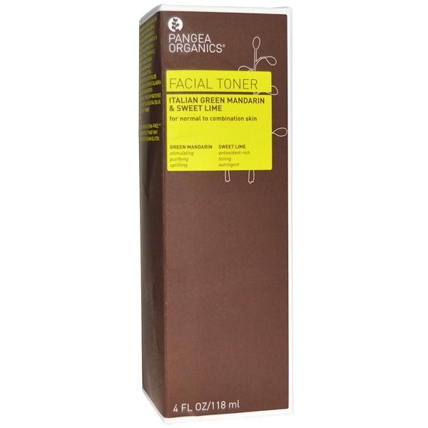 Pangea Organics, Facial Toner, Italian Green Mandarin & Sweet Lime, 4 fl oz (118 ml) (Discontinued Item)