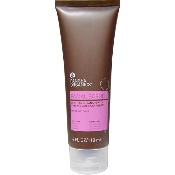 Pangea Organics, Facial Scrub, Egyptian Geranium with Adzuki Bean & Cranberry, 4 fl oz (118 ml) (Discontinued Item)