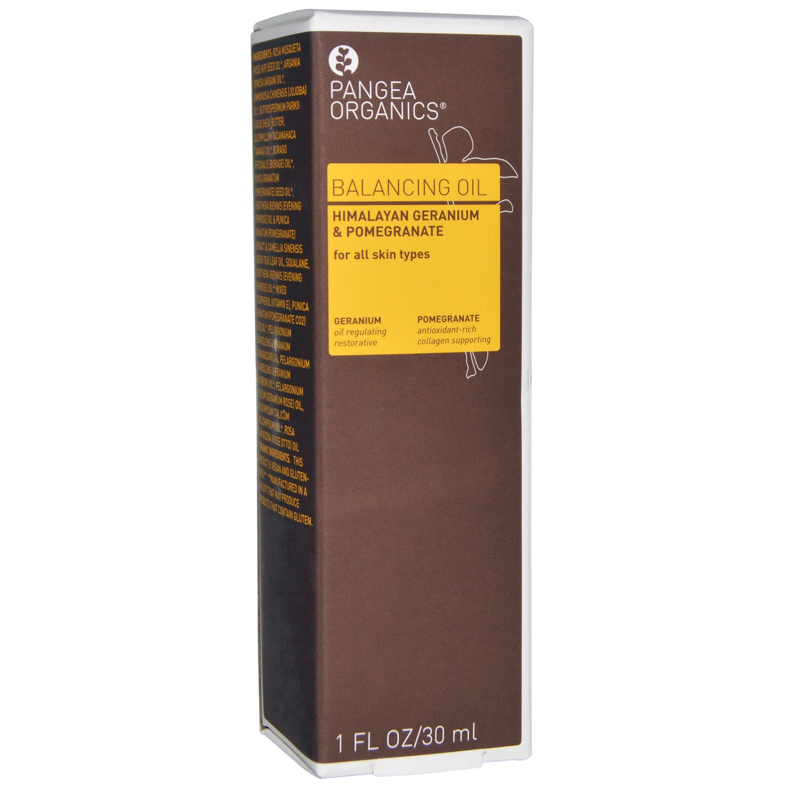 Pangea Organics, Балансирующее масло, гималайская герань и гранат, 1 жидк. унц. (30 мл)