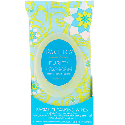 Purify Facial Cleansing Wipes, All Skin Types, 30 Pre-Moistened Natural Towelettes