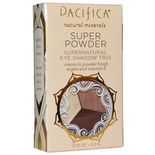 Pacifica, スーパー パウダー スーパーナチュラル アイシャドウトリオ、色:ストーン、コールド、フォックス、0.10 oz (3.0 g) (Discontinued Item)