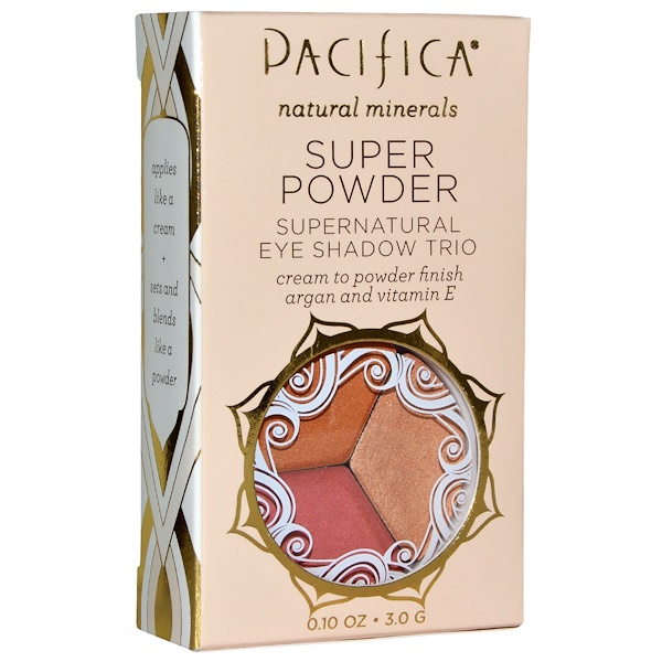 Pacifica, Super Powder Supernatural Eye Shadow Trio, Shades: Breathless, Glowing, Sunset, 0.10 oz (3.0 g)