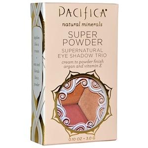 Pacifica, Супер пудра,Сверхъестественное трио теней для век, оттенки: Неподвижность, Сияние, Закат, 0,10 унции (3,0 г)