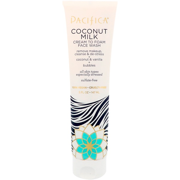 Pacifica, Coconut Milk, Cream to Foam Face Wash, 5 fl oz (147 ml) (Discontinued Item)