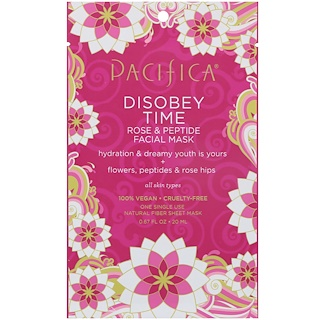 Pacifica, Disobey Time, Rose & Peptide Facial Mask, 1 Mask, 0.67 fl oz (20 ml)