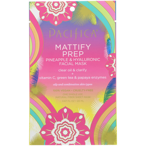Mattify Prep, Pineapple & Hyaluronic Facial Mask, 1 Mask, 0.67 fl oz (20 ml)