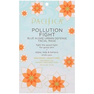 Pacifica, 抗污染,藍藻防護面膜,1片面膜,0.67液量盎司(20毫升)