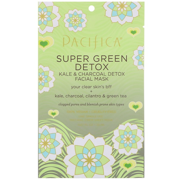 Pacifica, Super Green Detox, Kale & Charcoal Detox Facial Mask, 1 Mask, 0.67 fl oz (20 ml) (Discontinued Item)