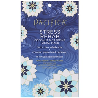 Pacifica, Stress Rehab, Coconut & Caffeine Facial Mask, 1 Mask, 0.67 fl oz (20 ml)
