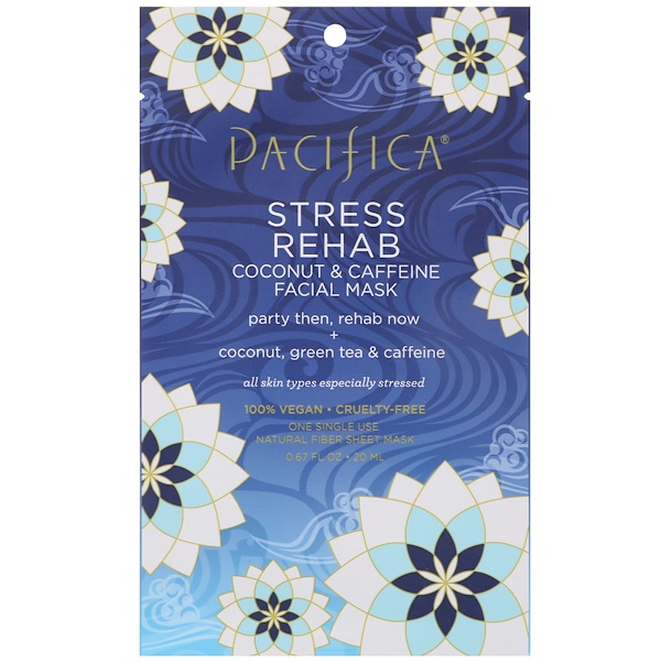 Pacifica, Stress Rehab, Coconut & Caffeine Facial Mask, 1 Mask, 0.67 fl oz (20 ml) (Discontinued Item)