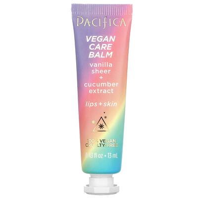 Pacifica Vegan Care Balm, Vanilla Sheer + Cucumber Extract, Lips + Skin, 0.43 fl oz (13 ml)