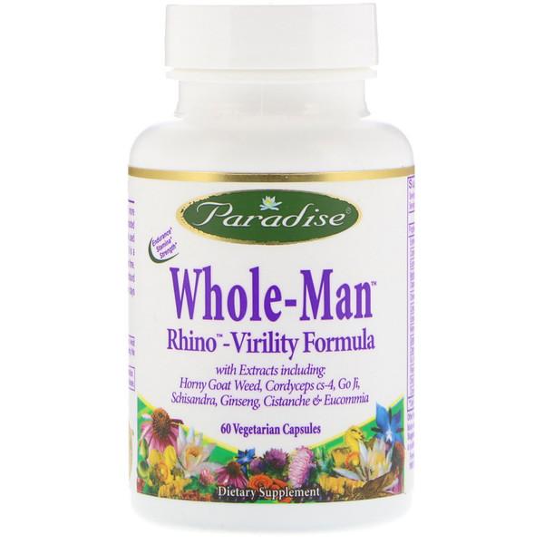 Paradise Herbs, Whole-Man, Rhino-Virility Formula, 60 Vegetarian Capsules