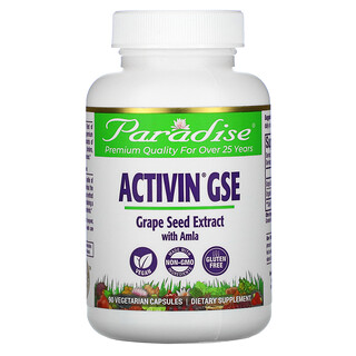 Paradise Herbs, ActiVin Grape Seed Extract with Amla, 90 Vegetarian capsules