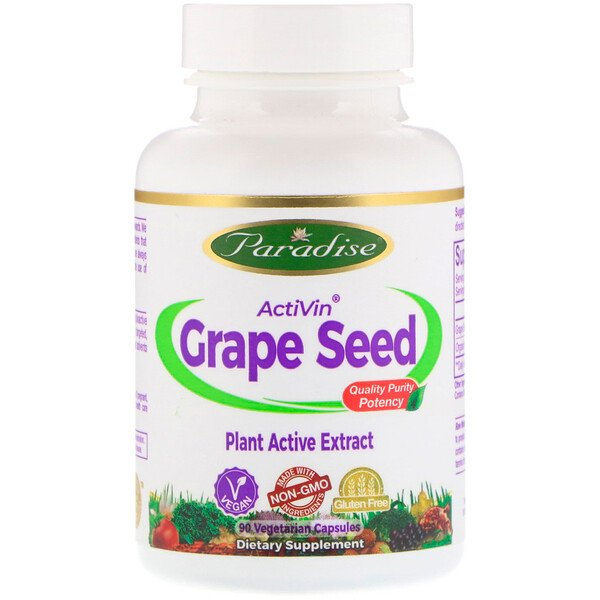 Paradise Herbs, ActiVin, Grape Seed Extract, 90 Vegetarian capsules
