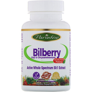 Парадайз Хербс, Bilberry, GoJi & Chrysanthemum, 60 Vegetarian Capsules отзывы