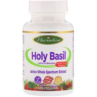 Paradise Herbs, Holy Basil, Lotus & Bacopa, 60 Vegetarian Capsules