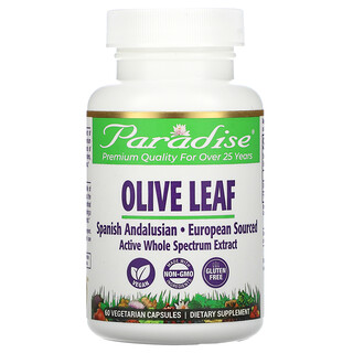 Paradise Herbs, Olive Leaf, 60 Vegetarian Capsules