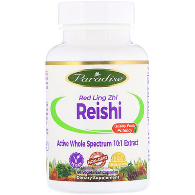Paradise Herbs Рейши, красный гриб линчжи, 60 вегетарианских капсул