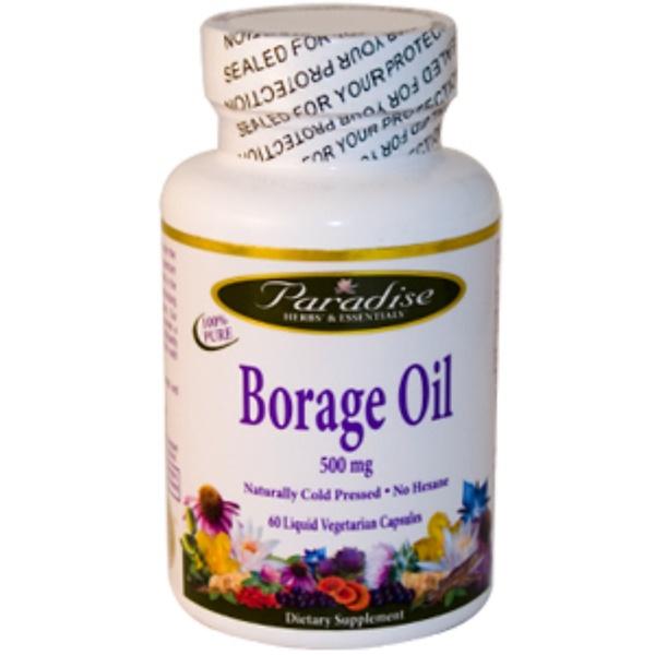 Paradise Herbs, Borage Oil, 500 mg, 60 Liquid Veggie Caps (Discontinued Item)
