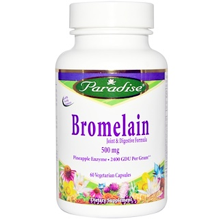 Paradise Herbs, Bromelain, Joint & Digestive Formula, 500 mg, 60 Veggie Caps