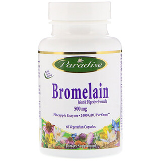 Paradise Herbs, Bromelain, Joint & Digestive Formula, 500 mg, 60 Vegetable Capsules