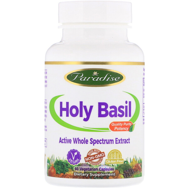 Paradise Herbs, Holy Basil, 60 Vegetarian Capsules