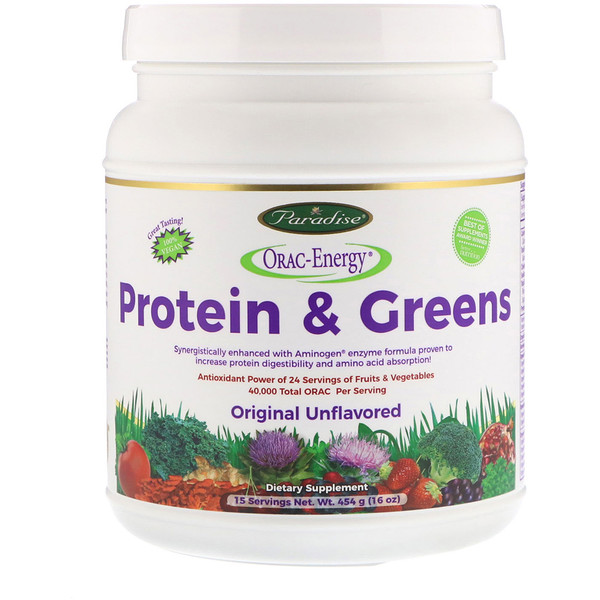 Paradise Herbs, ORAC-Energy, Protein & Greens, Original Unflavored, 16 oz (454 g)