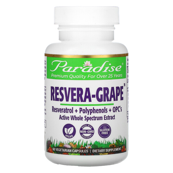 Paradise Herbs, Resvera-Grape,60 粒素食膠囊