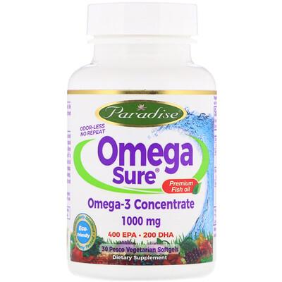 Фото - Omega Sure, Omega-3 Premium Fish Oil, 1,000 mg, 30 Pesco Vegetarian Softgels fish oil reflux free 1 000 mg 180 enteric coated softgels