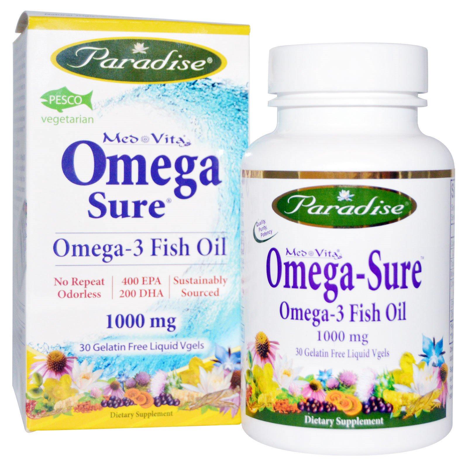 Paradise Herbs, Омега-3 30 жидких капсул