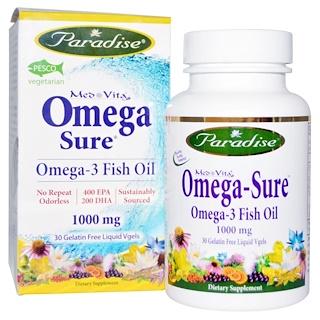Paradise Herbs, Med Vita, Omega Sure, Omega-3 Fish Oil, 1000 mg, 30 Liquid Vgels