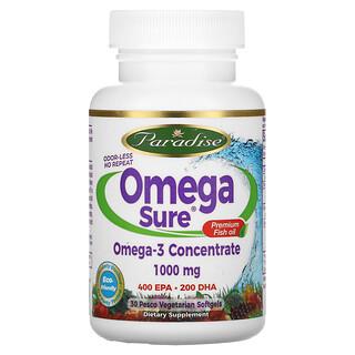 Paradise Herbs, Omega Sure, Premium Fish Oil, 1,000 mg, 30 Pesco Vegetarian Softgels