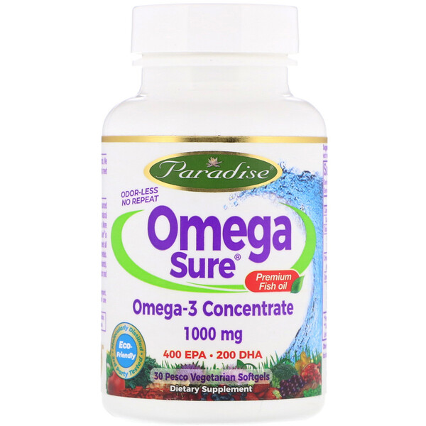 Omega Sure, Omega-3 Premium Fish Oil, 1,000 mg, 30 Pesco Vegetarian Softgels