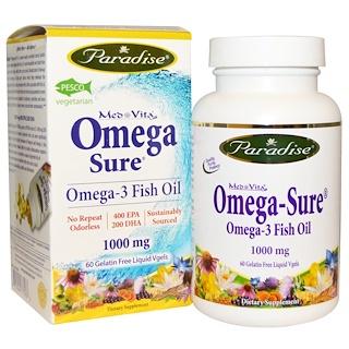 Paradise Herbs, オメガ-3、1000 mg、60 液体ベジジェル