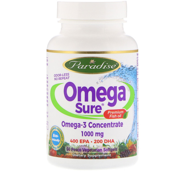 Paradise Herbs, Omega Sure, Omega-3 Concentrate , 1,000 mg, 60 Pesco Vegetarian Softgels