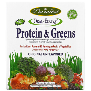 Paradise Herbs, ORAC-Energy, Protein & Greens, Original Unflavored, 14 Packets, 15 g Each