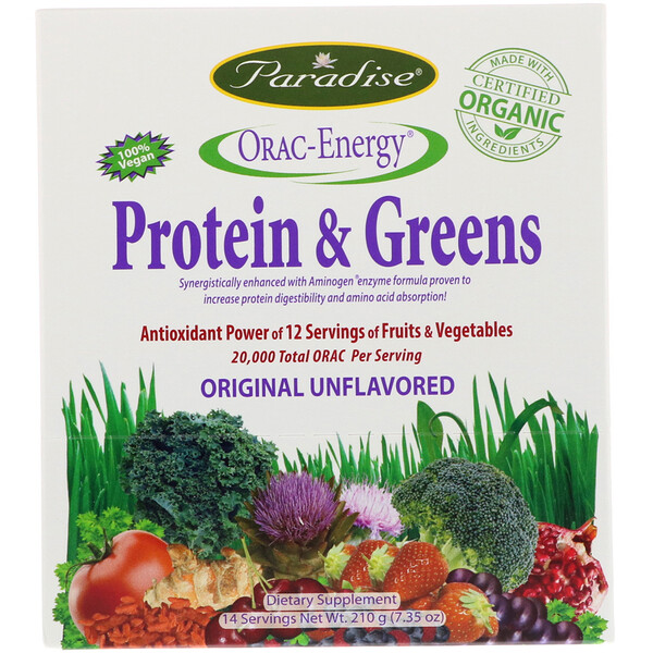 ORAC-Energy, 단백질 & 녹색 채소, 14봉지, 15g(0.53oz)