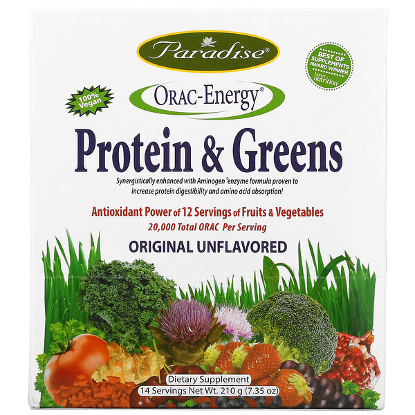 ORAC-Energy, Protein & Greens, Original Unflavored, 14 Packets, 15 g Each