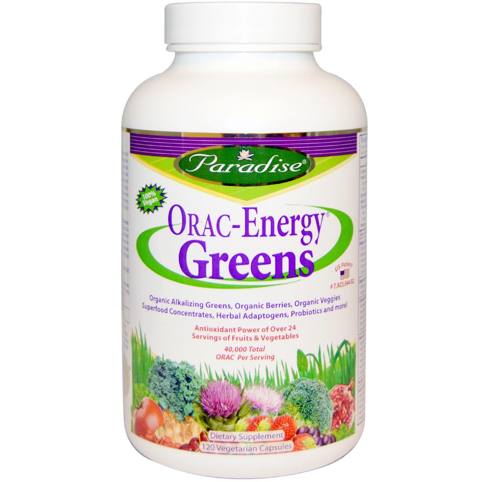 """Paradise Herbs, Зеленая пища """"Энергия ORAC"""", 120 капсул на растительной основе"""