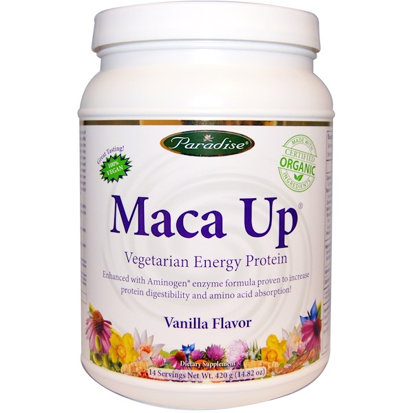 Paradise Herbs, Maca Up, Vegetarian Energy Protein Proteína (Vegetariana Para la Energía), Vanilla Flavor (Sabor a Vainilla), 14.82 oz (420 g)