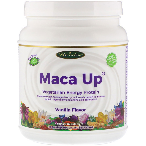 Paradise Herbs, Maca Up, Vegetarian Energy Protein, Vanilla Flavor, 15.87 oz (450 g) (Discontinued Item)