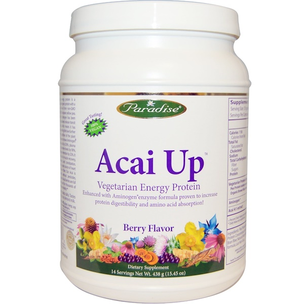 Paradise Herbs, Acai Up, Vegetarian Energy Protein, Berry Flavor, 15.45 oz (438 g) (Discontinued Item)