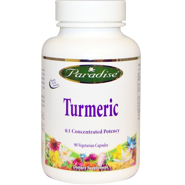 Paradise Herbs, Turmeric 4:1 Concentrated Potency, 90 Veggie Caps