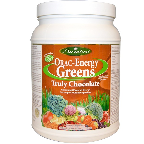 Paradise Herbs, ORAC-Energy Greens, Truly Chocolate, 12.8 oz (364 g) (Discontinued Item)