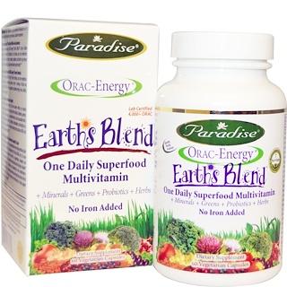 Paradise Herbs, ORAC-エネルギー、アース・ブレンド、1日1回 スーパーフード マルチビタミン、60ベジキャップ